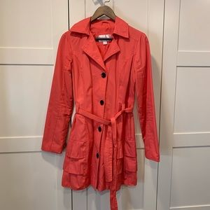 Coral Belted Trench with Ruffle bottom (S)
